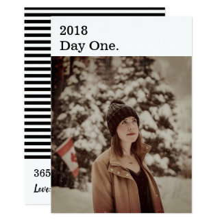 Modern Black White New Year Photo Card Vertical