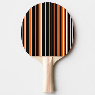 Modern Black, White, Orange Barcode Stripe Ping Pong Paddle