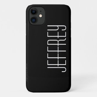 Modern, Black & White, Personalized Jumbo Name Case-Mate iPhone Case