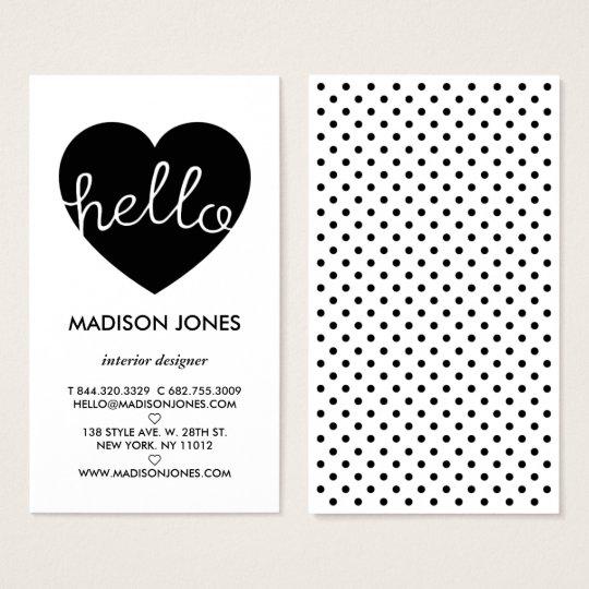 Modern black white polka dots pattern heart hello