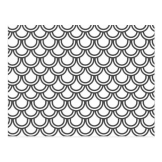 Modern Black White Retro Scallop  Pattern Postcard