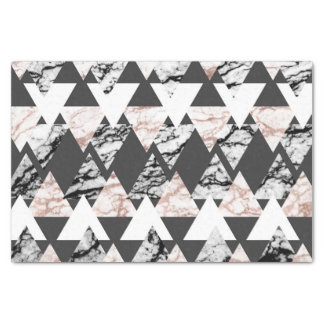 Modern Black White Rose Gold Marble Geo Triangles Tissue Paper