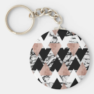 Modern Black White Rose Gold Triangles on Marble Key Ring