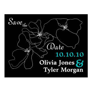 Modern Black & White Save the Date Postcard