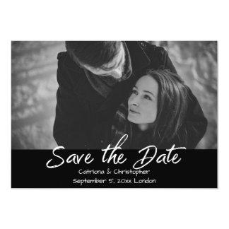 Modern Black & White Script Photo Save the Date Card