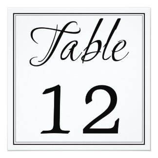 "Modern Black & White Script Table Number Cards 5.25"" Square Invitation Card"