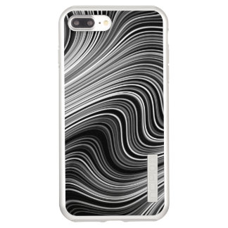 Modern Black White Silver Grey Curvy Lines Incipio DualPro Shine iPhone 8 Plus/7 Plus Case