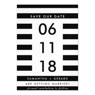 Modern Black White Stripe Wedding Save the Date Magnetic Card