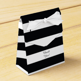 Modern Black White Striped Favor Box