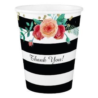 Modern Black White Striped Gold Paper Cup