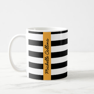 Modern black white stripes aqua personalized name coffee mug