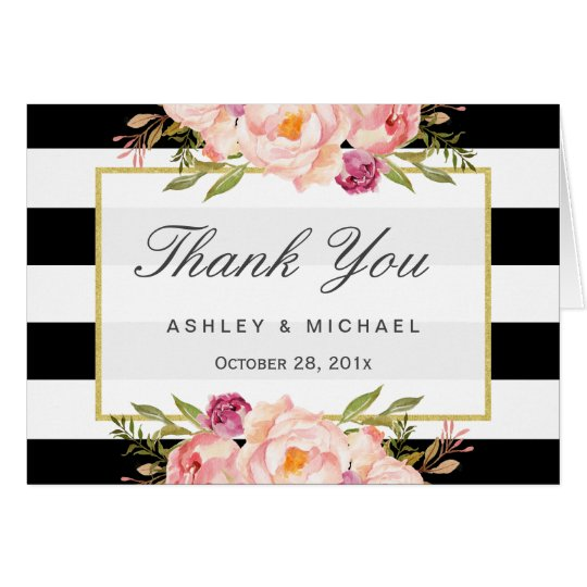 Modern Black White Stripes Classy Floral Thank You