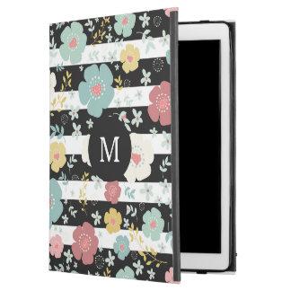 "Modern Black & White Stripes & Colorful Flowers iPad Pro 12.9"" Case"