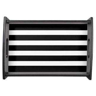 Modern Black & White Stripes Custom Serving Tray