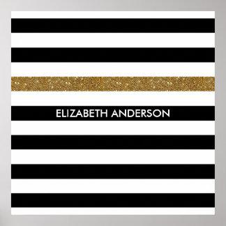 Modern Black White Stripes Gold Glitter and Name Poster