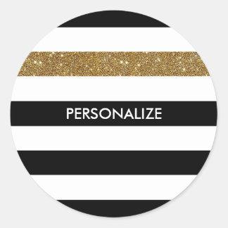 Modern Black White Stripes Gold Glitter and Name Round Sticker