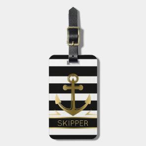 Modern Black White Stripes Gold Nautical Anchor Luggage Tag
