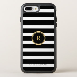 Modern Black & White Stripes Monogram OtterBox Symmetry iPhone 8 Plus/7 Plus Case