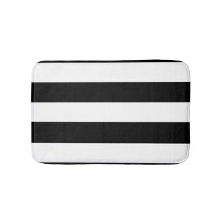 Modern Black White Stripes Pattern Bath Mat