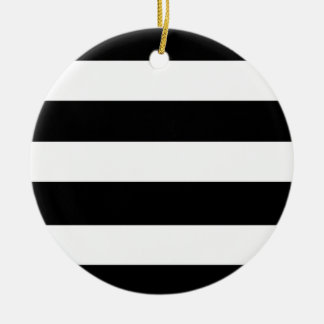 Modern Black White Stripes Pattern Christmas Ornament