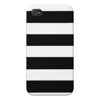 Modern Black White Stripes Pattern Cover For iPhone 4