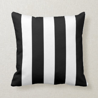 Modern Black White Stripes Pattern Cushion