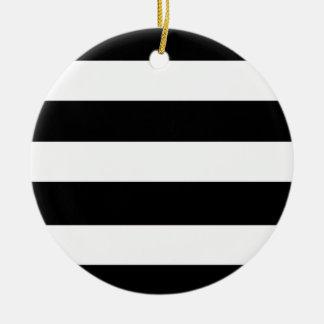 Modern Black White Stripes Pattern Round Ceramic Decoration