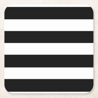 Modern Black White Stripes Pattern Square Paper Coaster