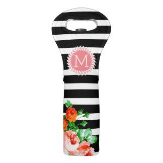 Modern Black & White Stripes, Wreath & Roses Wine Bag