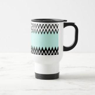 Modern black white teal stylish chevron pattern stainless steel travel mug