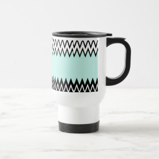 Modern black white teal stylish chevron pattern travel mug