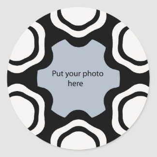 Modern Black White Template Add Your Photo Round Stickers