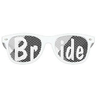 Modern black white triangles wedding Bride Retro Sunglasses