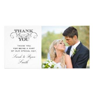 Modern Black & White Wedding Photo Thank You Cards Customised Photo Card