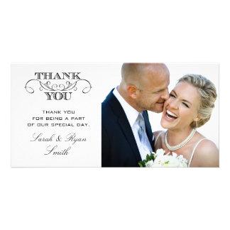 Modern Black White Wedding Photo Thank You Cards Custom Photo Card