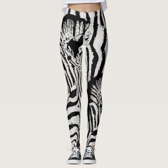Modern black white zebra animal print leggings