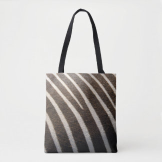 Modern Black White Zebra Animal Stripe Print Tote Bag