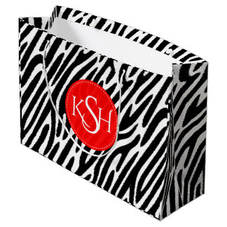 Modern Black & White Zebra Pattern Print Large Gift Bag