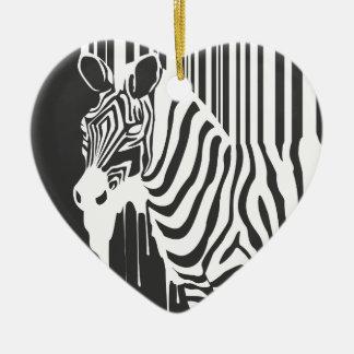 modern black & white zebra pop art design ceramic heart decoration