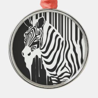 modern black & white zebra pop art design christmas ornament