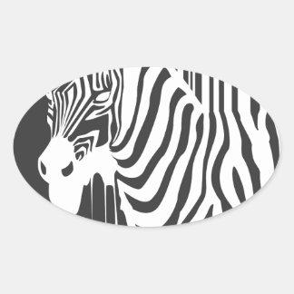 modern black & white zebra pop art design oval stickers