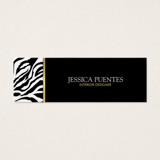 Modern Black & White Zebra Stripes with Gold Mini Business Card