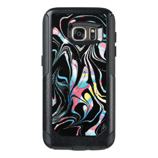Modern Black With Pastel Colors Marble Swirls OtterBox Samsung Galaxy S7 Case