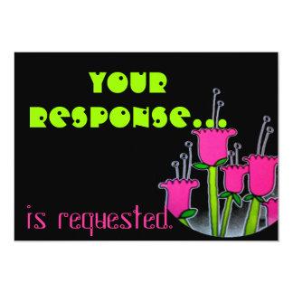 Modern Black with Tulips Response Card 13 Cm X 18 Cm Invitation Card