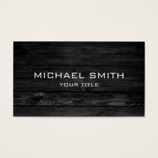 Modern Black Wood Business Card