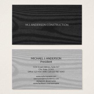 Modern Black Wood Grain | Simple Minimalist Rustic Business Card
