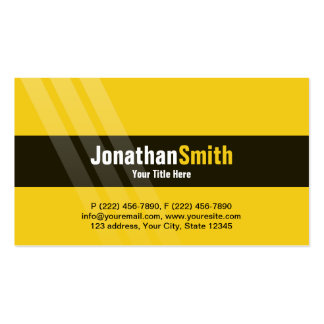 Modern Black Yellow With Elegant Stripes Pack Of Standard Business Cards