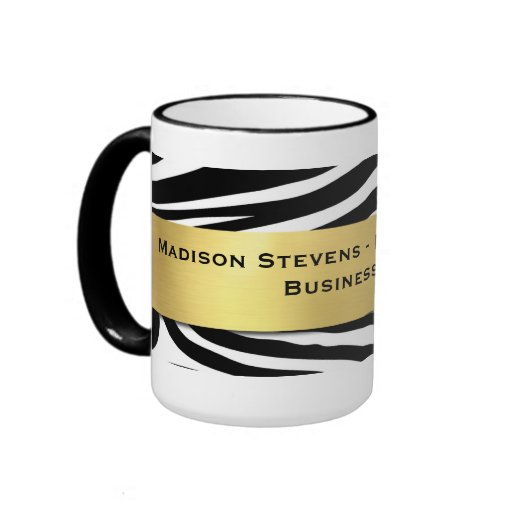 Modern Black Zebra Print with Gold Mugs