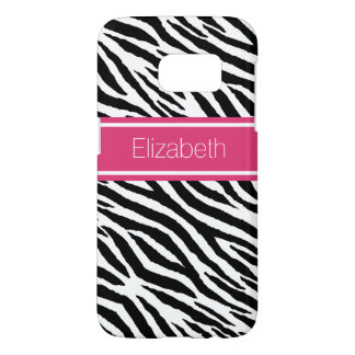 Modern Black Zebra Print With Pink Name Stripe