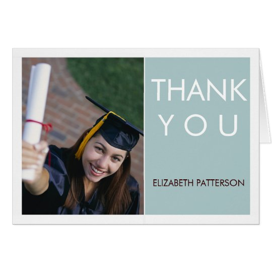Modern Block Photo Graduation Thank You Teal White Card